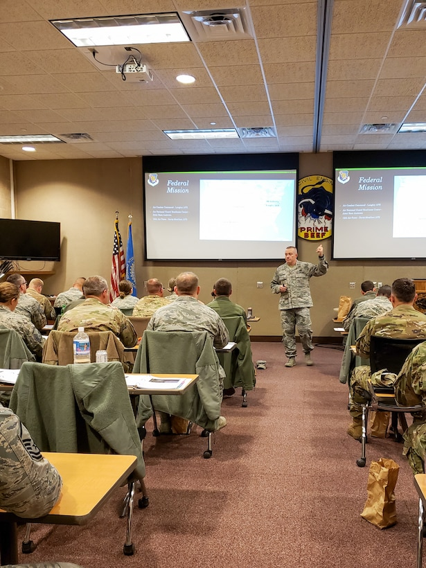 Lt. Col. Travis Schuring, South Dakota National Guard Headquarters state director of personnel, spoke to 114th Fighter Wing Airmen during the inaugural Lobo Leadership Course Nov. 3, 2019.