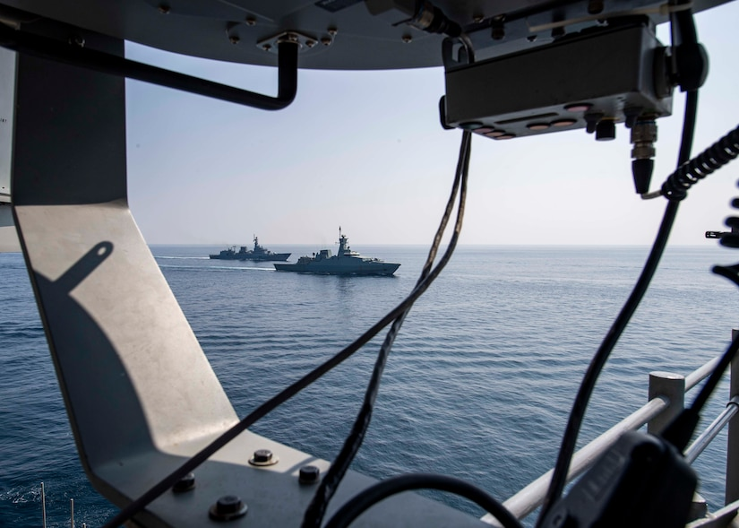 The Royal Navy of Oman Al Shamikh and the Pakistan Navy Ship Shamsheer  transit in formation beside the guided-missile cruiser USS Normandy (CG 60) as part of International Maritime Exercise 2019 (IMX 19). The exercise is a multinational engagement involving partners and allies from around the world designed to facilitate the sharing of knowledge and experiences across the full spectrum of defensive maritime operations. IMX 19 serves to demonstrate the global resolve in maintaining regional security and stability, freedom of navigation and the free flow of commerce from the Suez Canal south to the Bab el-Mandeb Strait through the Strait of Hormuz to the Northern Arabian Gulf. (U.S. Navy photo by Mass Communication Specialist 2nd Class Michael H. Lehman)