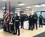 Marines stand together before birthday celebration begins