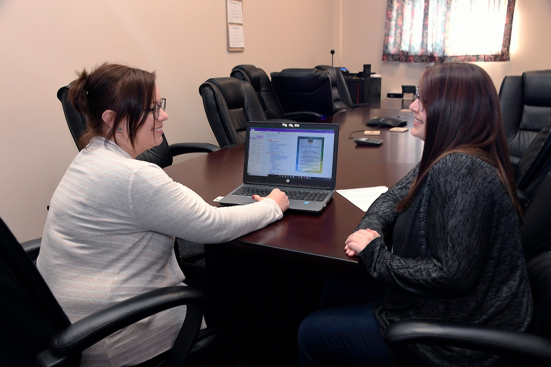 Procurement Analyst Erin Clore and Contracting Officer Kayla DesVoignes discuss the features of the new online tool helping staff members ensure they use the latest information and comply with all of the rules and regulations for contracts.