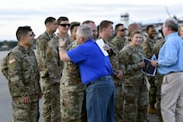 Denver Riggleman, Kentucky rep. to the US House of Representatives greets constituents on Soto Cano Air Base
