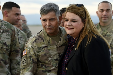 Miss Jenniffer González, current Resident Commissioner of Puerto Rico, poses for an image with Sgt. Aleman.