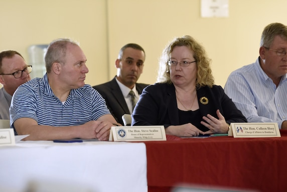 Mr. Steven Scalise, Minority Whip US House of Representatives, speaks with US Charge to Honduras Colleen Hoey.