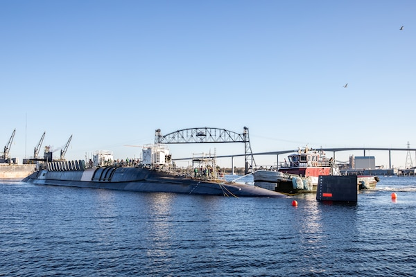 USS Wyoming (SSBN-742) successfully undocked at Norfolk Naval Shipyard (NNSY) Nov. 6, a key milestone in the boat's Engineered Refueling Overhaul (ERO).
