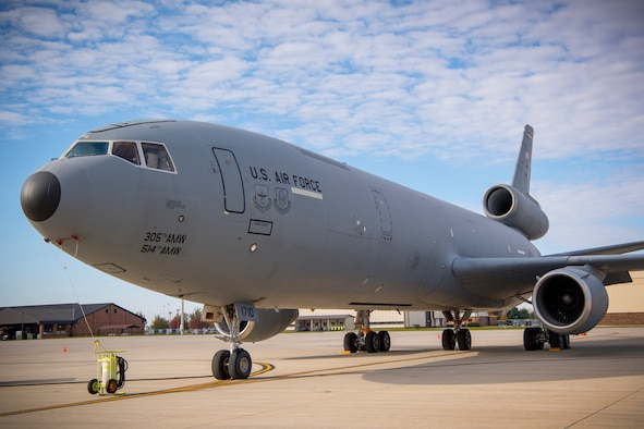 A KC-10 Extender from Joint Base McGuire-Dix-Lakehurst, New Jersey, sits on the parking ramp at Grissom Air Reserve Base, Indiana Nov. 6, 2019. The tanker made a pit-stop to pick up humanitarian cargo being sent to Afghanistan. (U.S. Air Force photo/Master Sgt. Ben Mota)