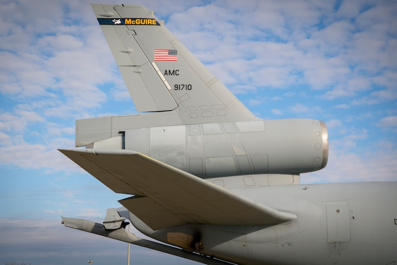 A KC-10 Extender from Joint Base McGuire-Dix-Lakehurst, New Jersey, sits on the parking ramp at Grissom Air Reserve Base, Indiana Nov. 6, 2019. The KC-10 can transport up to 75 people and nearly 170,000 pounds of cargo a distance of about 4,400 miles unrefueled. (U.S. Air Force photo/Master Sgt. Ben Mota)