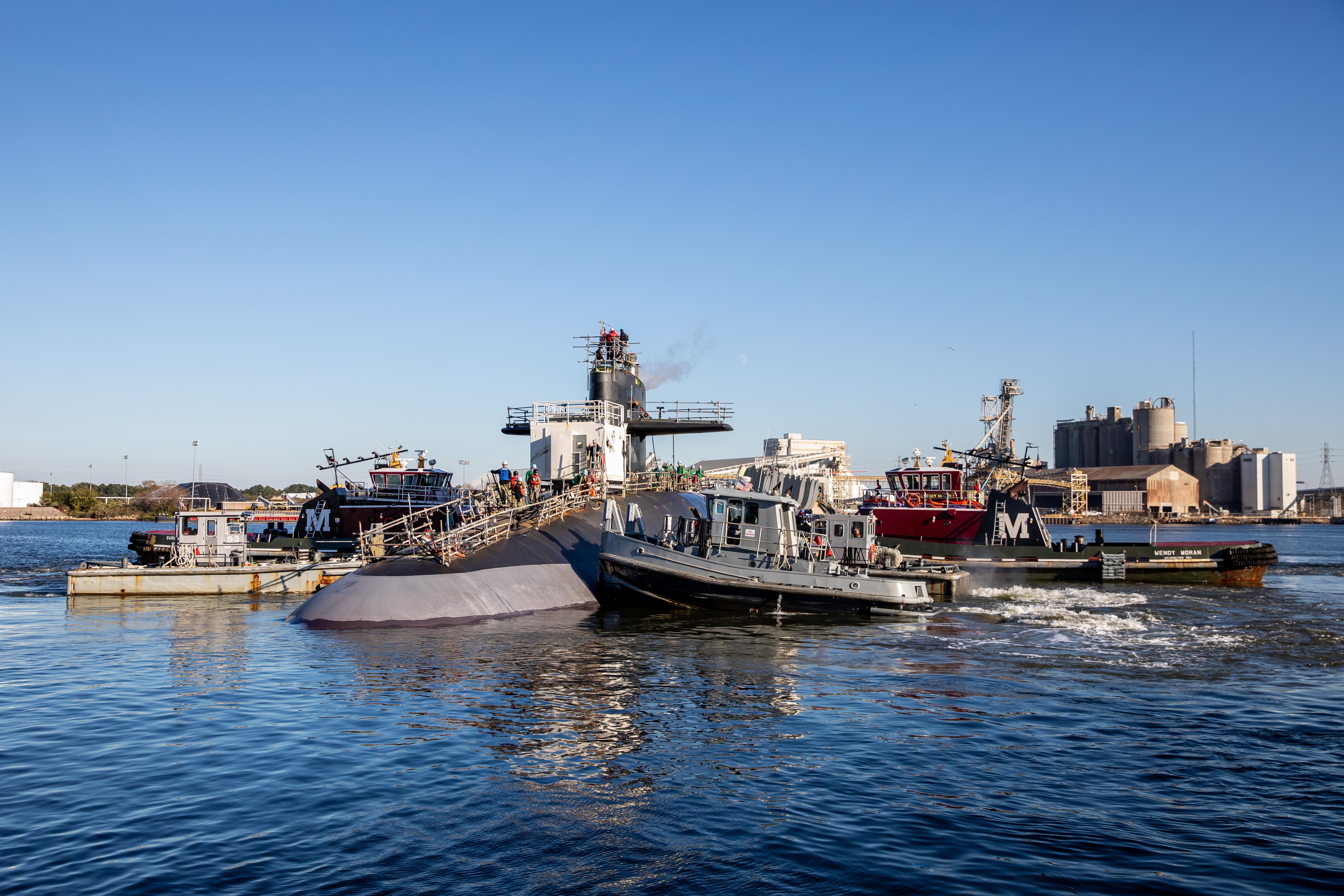 USS Wyoming (SSBN-742) successfully undocked at Norfolk Naval Shipyard (NNSY) Nov. 6, a key milestone in the boat's Engineered Refueling Overhaul (ERO). (Photo by Shelby West, Norfolk Naval Shipyard Photographer)