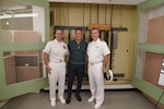 Hollywood actor Patrick Wilson (center) tours Station Hypo with U.S. PACFLT Director of Intelligence and Information Operations Capt. Tony Butera (left) and PHNSY&IMF Executive Officer Cmdr. Scott Shea (right). Wilson plays Edwin Layton, an intelligence officer who worked at Pearl Harbor –including at Station Hypo– during World War II, in the upcoming movie Midway.