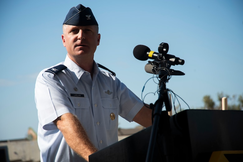 Brian Laidlaw, 325th Fighter Wing commander, speaks during a groundbreaking ceremony Nov. 6, 2019, at Tyndall Air Force Base, Florida. A groundbreaking ceremony for the U.S. 98/Tyndall Air Force Base Flyover was held at Tyndall's Flag Park. The flyover will improve mobility by separating through traffic on U.S. 98 from drivers entering and exiting Tyndall. The project represents a continued partnership with the State of Florida in supporting the rebuild process of Tyndall. This was a collaborative effort of the Florida Department of Transportation, the Federal Highway Administration, and Tyndall's 325th Fighter Wing. (U.S. Air Force photo by Staff Sgt. Magen M. Reeves)