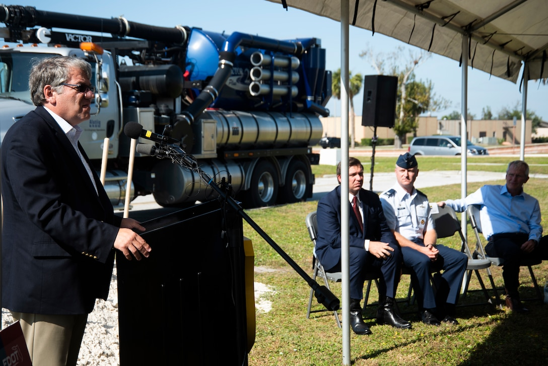 Kevin Thibault, Secretary of the Florida Department of Transportation, speaks during a groundbreaking ceremony Nov. 6, 2019, at Tyndall Air Force Base, Florida. A groundbreaking ceremony for the U.S. 98/Tyndall Air Force Base Flyover was held at Tyndall's Flag Park. The flyover will improve mobility by separating through traffic on U.S. 98 from drivers entering and exiting Tyndall. The project represents a continued partnership with the State of Florida in supporting the rebuild process of Tyndall. This was a collaborative effort of the Florida Department of Transportation, the Federal Highway Administration, and Tyndall's 325th Fighter Wing. (U.S. Air Force photo by Staff Sgt. Magen M. Reeves)