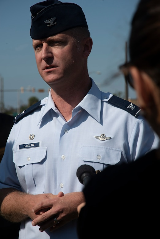 Brian Laidlaw, 325th Fighter Wing commander, is interviewed at a press pool during a groundbreaking ceremony Nov. 6, 2019, at Tyndall Air Force Base, Florida. A groundbreaking ceremony for the U.S. 98/Tyndall Air Force Base Flyover was held at Tyndall's Flag Park. The flyover will improve mobility by separating through traffic on U.S. 98 from drivers entering and exiting Tyndall. The project represents a continued partnership with the State of Florida in supporting the rebuild process of Tyndall. This was a collaborative effort of the Florida Department of Transportation, the Federal Highway Administration, and Tyndall's 325th Fighter Wing. (U.S. Air Force photo by Staff Sgt. Magen M. Reeves)