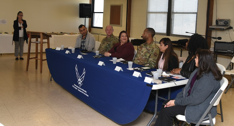 Panel members answer questions at the first Diversity Heritage Day event on Kirtland Air Force Base, N.M., Nov. 6, 2019. The members answered questions about diversity and inclusion in the workplace from their own experience.  (U.S. Air Force photo by Airman 1st Class Ireland Summers)