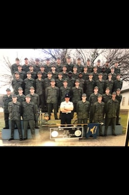 Bret Bowers, Mann-Grandstaff Veteran Affairs Medical Hospital Public Affairs officer former U.S. Air Force buck sergeant, (bottom row, second from left) poses with the rest of his Basic Military Training flight at Lackland Air Force Base, Texas, January 15, 1987. (Courtesy photo)