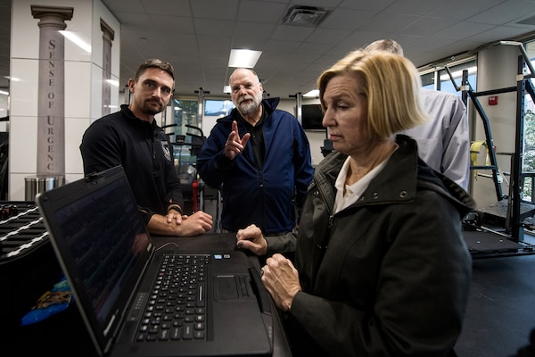 Brendan Sills (left), Guardian Premier Solutions, demonstrates the Zephyr to civic leaders, Nov. 7, 2019, at Joint Base San Antonio-Medina Annex, Texas.