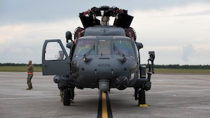 An HH-60 Pave Hawk helicopter assigned to the 305th Rescue Squadron (RQS), Davis-Monthan Air Force Base, Ariz., sits on the flightline at MacDill Air Force Base, Fla., Nov. 5, 2019