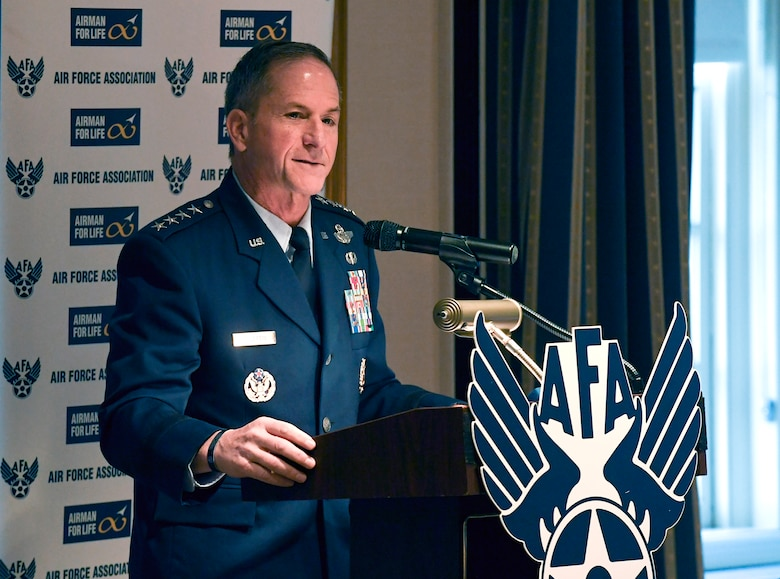 Air Force Chief of Staff Gen. David L. Goldfein told a Capitol Hill audience in Washington, D.C., Nov. 6, 2019, that unpredictable funding has both short-term and long-term effects, complicating readiness, training, planning and other activities necessary to meet missions. (U.S. Air Force photo by Staff Sgt. Chad B. Trujillo)