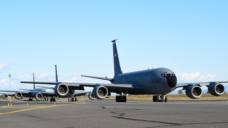 U.S. Air Force KC-135 Stratotankers taxi during a simulated alert response during Exercise Global Thunder at Fairchild Air Force Base, Washington, Oct. 22, 2019. Global Thunder is an annual command and control exercise designed to train U.S. Strategic Command forces and assess joint operational readiness. (U.S. Air Force photo by Airman 1st Class Lawrence Sena)