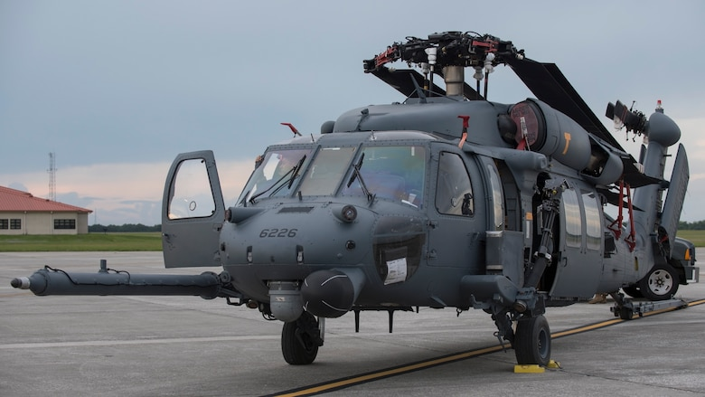 An HH-60 Pave Hawk helicopter assigned to the 305th Rescue Squadron (RQS), Davis-Monthan Air Force Base, Ariz., sits on the flightline at MacDill Air Force Base, Fla., Nov. 5, 2019.