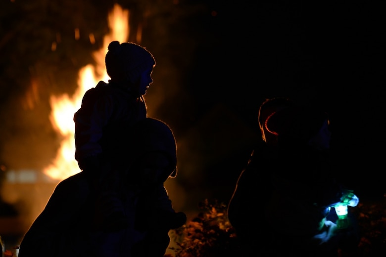 Families gather at a bonfire to celebrate Martinstag in Landstuhl, Germany Nov. 7, 2019.