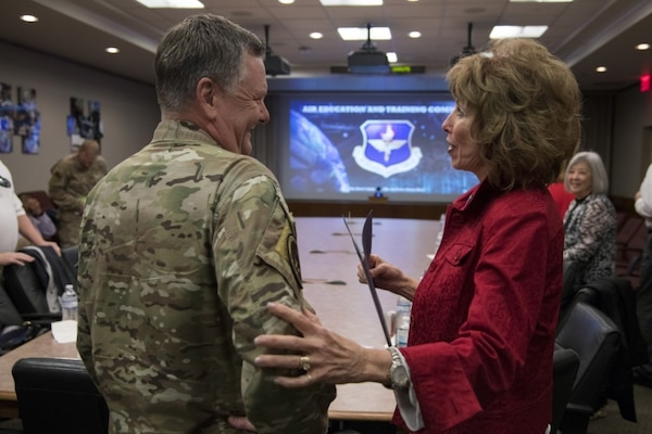 U.S. Air Force Lt. Gen. Brad Webb, commander of Air Education and Training Command, speaks with Vickie McCall, an Air Combat Command civic leader from Ogden, Utah, after his AETC mission brief Nov. 6, 2019. During the visit, civic leaders toured missions of 37th Training Wing, 12th Flying Training Wing, 502nd Air Base Wing and Air Force Recruiting Service, all at JBSA locations. The Air Force Civic Leader Program is an Air Staff-level program comprising major command-selected community leaders from a wide variety of industries and sectors, including banking and economic development, construction, manufacturing, education, healthcare, science and technology.