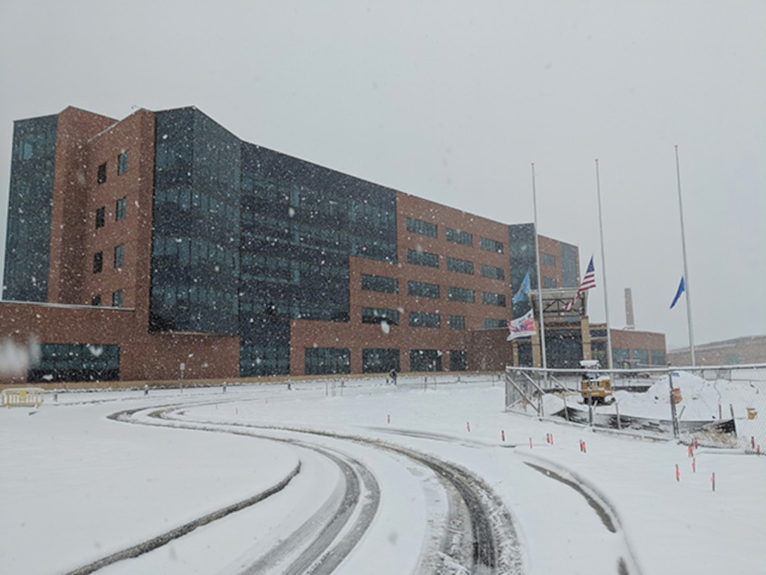 DLA Aviation Operations Center with snow on ground