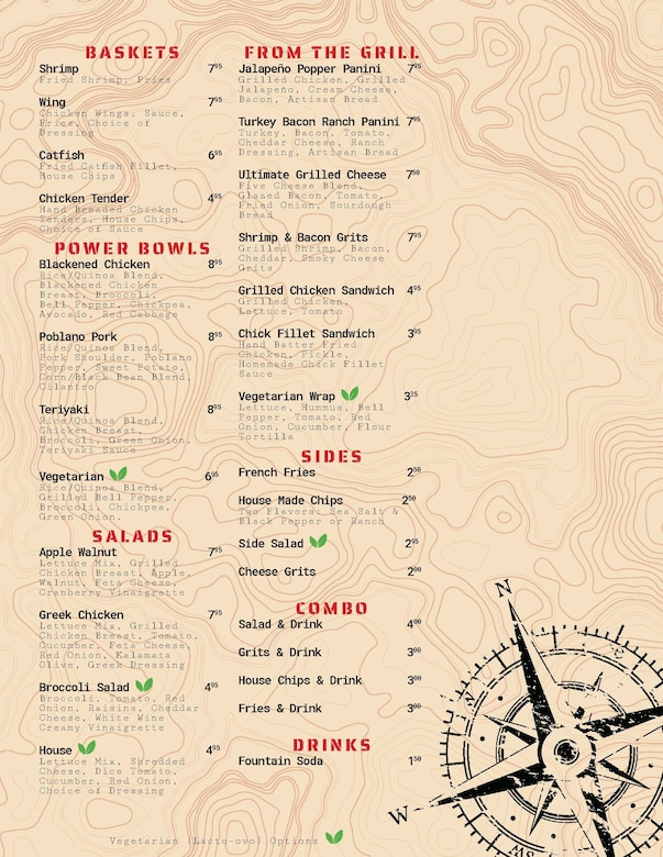 The new menu for the Columbus Club (courtesy graphic)