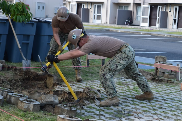 Seabees Deployed with NMCB-5's Detail Iwakuni Build New CMU Enclosures on Board Marine Corps Air Station