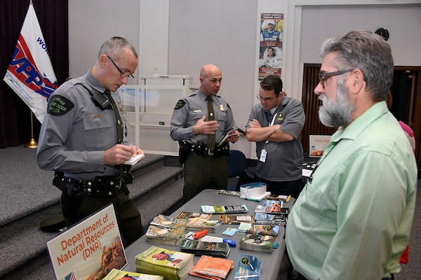 Officers from the Michigan Department of Natural Resources answered lots of questions about recreational opportunities.