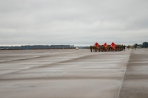U.S. Marines and Sailors with Marine Corps Air Station New River conduct a station-wide formation run on MCAS New River, Nov. 8, 2019 Marines ran in celebration of the Marine Corps' 244th birthday.