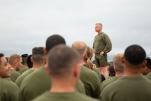 U.S. Marine Corps Col. Robert B. Finneran, commanding officer, Marine Aircraft Group 29, Marine Corps Air Station New River, gives his remarks following a station-wide formation run on MCAS New River, Nov. 8, 2019. Marines ran in celebration of the Marine Corps' 244th birthday.