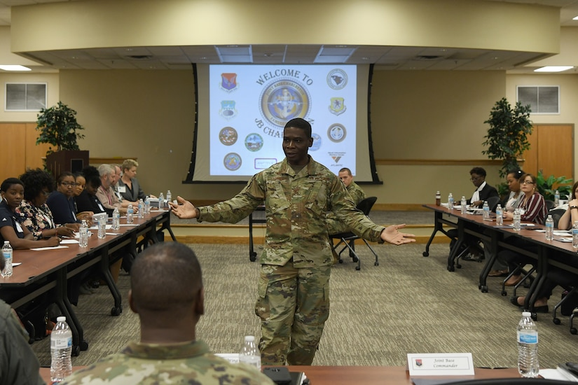 Col. Terrence Adams, 628th Air Base Wing commander, welcomes educational influencers to Joint Base Charleston Nov. 7, 2019, as part of a continuing effort to strengthen collaboration between leaders from the base and local community.