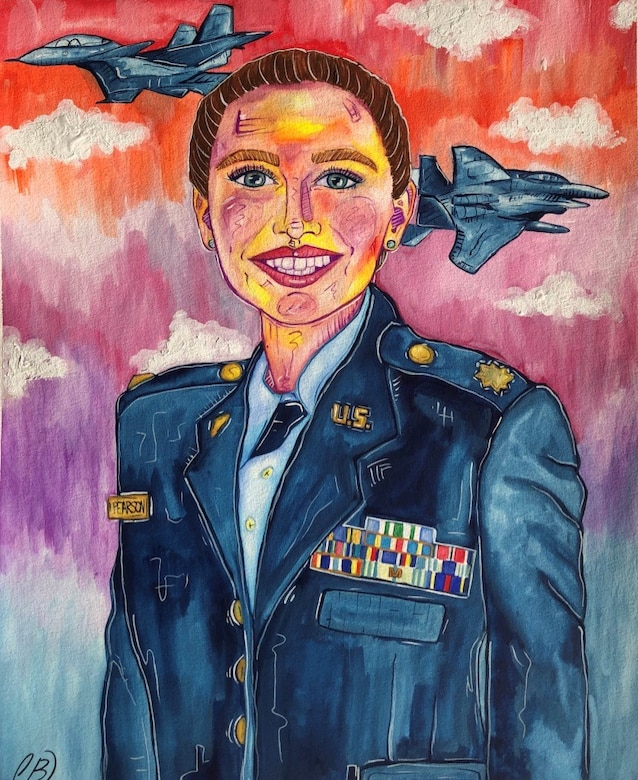 Manatee School for the Arts senior Caroline Beattie painted a portrait of her Economics and Government teacher who serves in the Air Force Reserves for the school's Veteran's Day program. (U.S. Air Force courtesy photo)