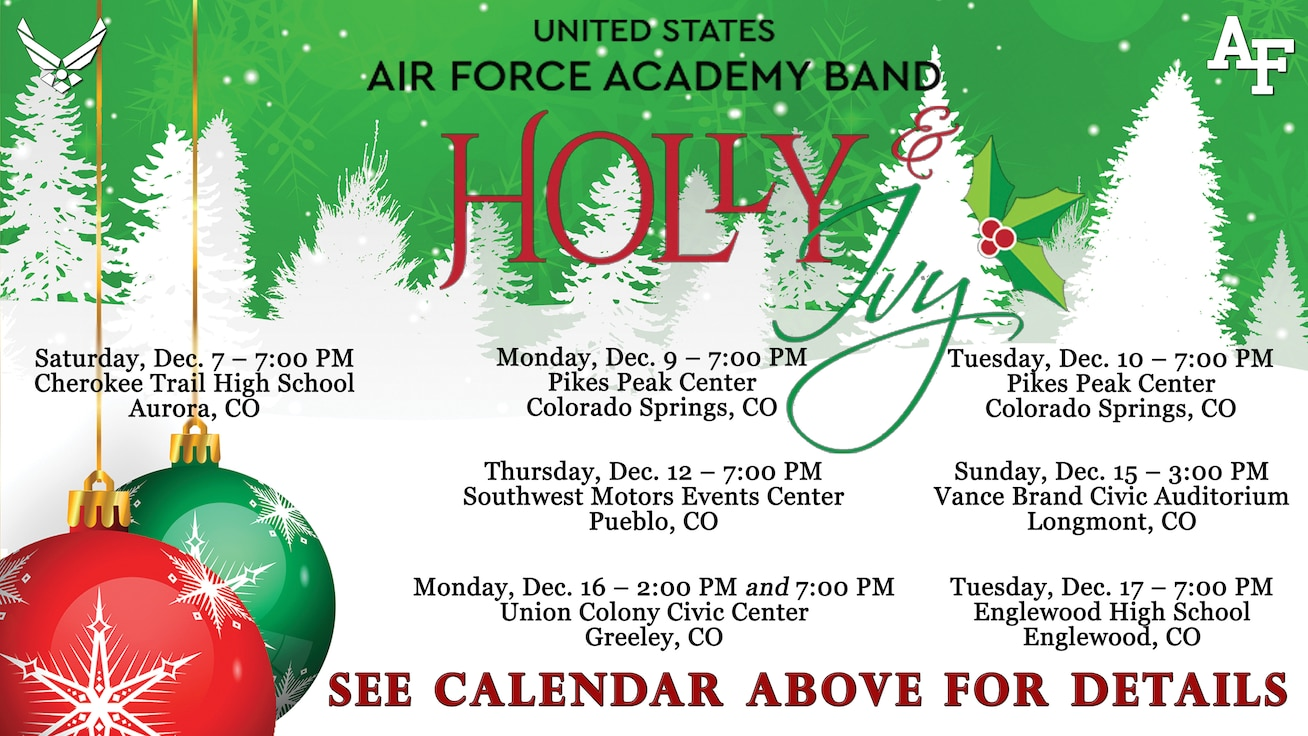 A graphic for the Academy Band's winter concert series Holly and Ivy advertising the eight performances, decorated with seasonal images like snowy pine trees and red and green ornaments.  Further information about each performance is available on our calendar above.