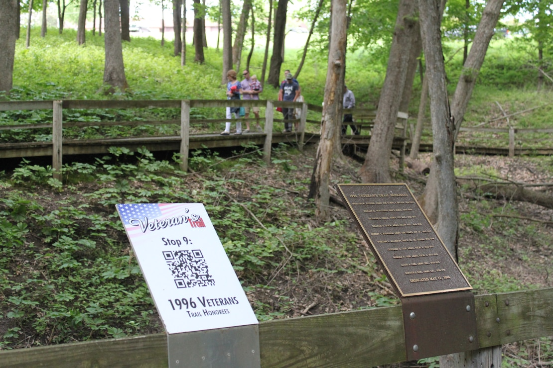 Honorees plaque along Veterans Trail at Coralville Lake