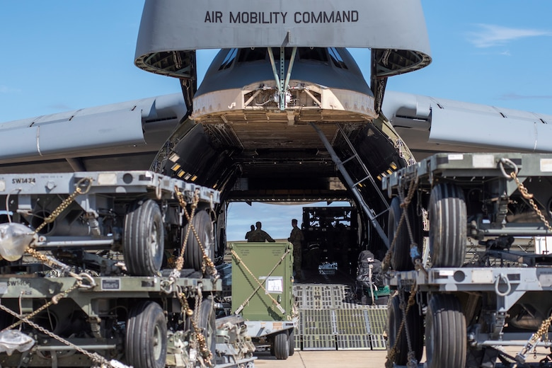 A C-5M Super Galaxy is loaded with cargo at Shaw Air Force Base, South Carolina, Oct. 24, 2019.