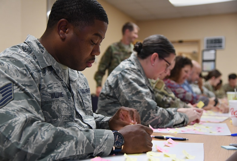 """U.S. Air Force Tech. Sgt. Darrius Williams, 81st Aerospace Medicine Squadron emergency management NCO in charge, participates in """"A Life-Mapping Experience"""" exercise during the Leadership Enhancement and Development Seminar inside the Airman Leadership School building at Keesler Air Force Base, Mississippi, Nov. 5, 2019. The three-day course, which is open to all supervisors, is meant to enhance effective communication, skillful interpersonal interaction and emotional intelligence in the military environment by using an active learning format that emphasizes discussion and minimizes lecture. (U.S. Air Force photo by Kemberly Groue)"""
