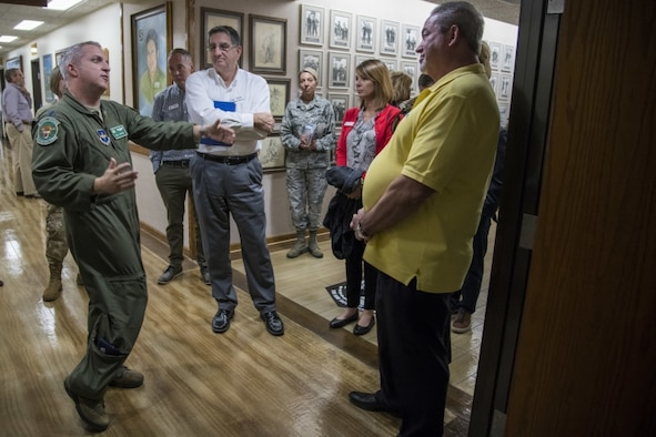 U.S. Air Force Lt. Col. Bill Johnson, 560th Flying Training Squadron commander, speaks to civic leaders about his unit's mission Nov. 6, 2019. During the visit, civic leaders toured missions of 37th Training Wing, 12th Flying Training Wing, 502nd Air Base Wing and Air Force Recruiting Service, all at Joint Base San Antonio locations. The Air Force Civic Leader Tour Program helps community leaders understand and advocate for the Air Force's diverse missions.