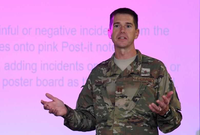 "U.S. Air Force Chaplain (Capt.) Darrel Schrader, 81st Training Wing chaplain, delivers instruction to students for an ""A Life-Mapping Experience"" exercise during the Leadership Enhancement and Development Seminar inside the Airman Leadership School building at Keesler Air Force Base, Mississippi, Nov. 5, 2019. The three-day course, which is open to all supervisors, is meant to enhance effective communication, skillful interpersonal interaction and emotional intelligence in the military environment by using an active learning format that emphasizes discussion  and minimizes lecture. (U.S. Air Force photo by Kemberly Groue)"