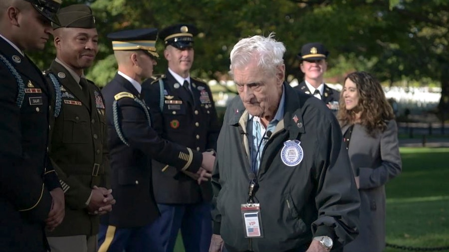 Jack Eaton, a 100-year-old, WW II veteran who served as a tomb guard from 1938-1940, visits the Tomb of the Unknown Soldier at Arlington National Cemetery in Arlington, Va.  Video by Marine Corps Sgt. Dylan Overbay, DOD