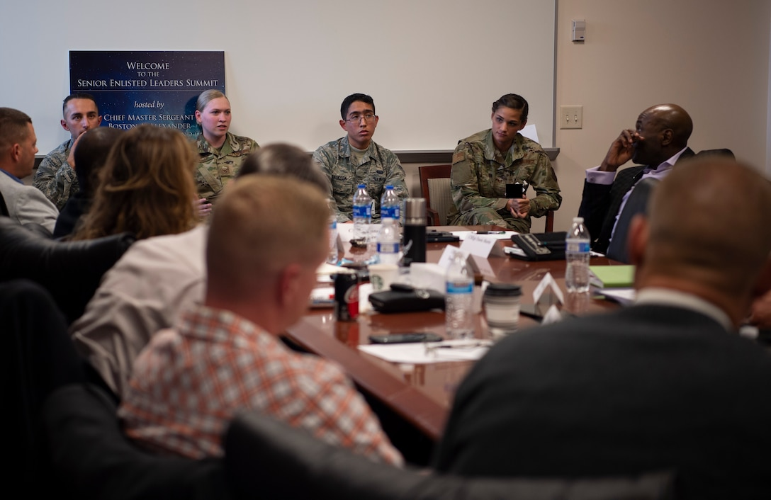 Senior enlisted leaders listen to junior enlisted Airmen and noncommissioned officers during a panel at the Senior Enlisted Leaders Summit in Colorado Springs, Colorado, Nov. 7, 2019. The purpose of the panel was to provide feedback to Team Schriever senior enlisted and brainstorm ways to improve Airmen's quality of life and mission execution. (U.S. Air Force photo by Airman 1st Class Jonathan Whitely)
