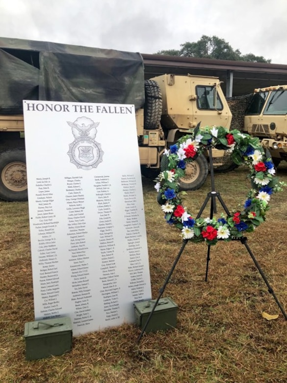 A plaque was unveiled during the ruck that displayed the 186 names of all Air Force Security Forces Defenders who died performing their duties since 1950. It will be hung in Carter Hall, JBSA-Lackland, which is the location where all Air Force Security Forces training takes place—from technical training at the Security Forces Apprentice Course, to upgrade and advanced courses and all officer training at the Security Forces Academy.