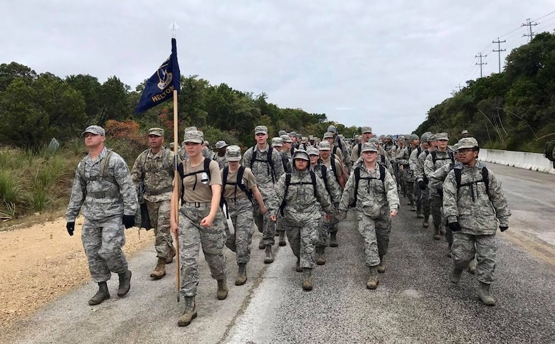 Defender Airmen march 4-miles in honor of all Security Forces Airmen who came before them. Over 1,100 Security Forces Airmen gathered for the 12th Annual Defender Ruck, hosted by the 343rd Training Squadron, in honor of all 186 Defender Airmen who have made the ultimate sacrifice in defense of freedom, Nov. 8, at Joint Base San Antonio-Camp Bullis.