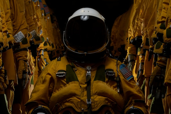 A photo of a U-2 Dragon Lady pilot poseing for a portrait inside a pressure suit