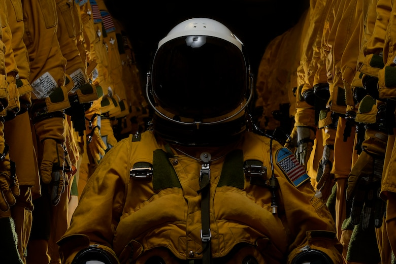 A U-2 Dragon Lady pilot poses for a portrait inside a pressure suit at Beale Air Force Base, California, October 31, 2019. Pilots who are flying into the rim of the atmosphere require a specialized and custom suit to their measurements keeping them at a normal altitude while going to extreme elevations. (U.S. Air Force photo by Tech. Sgt. Alexandre Montes)