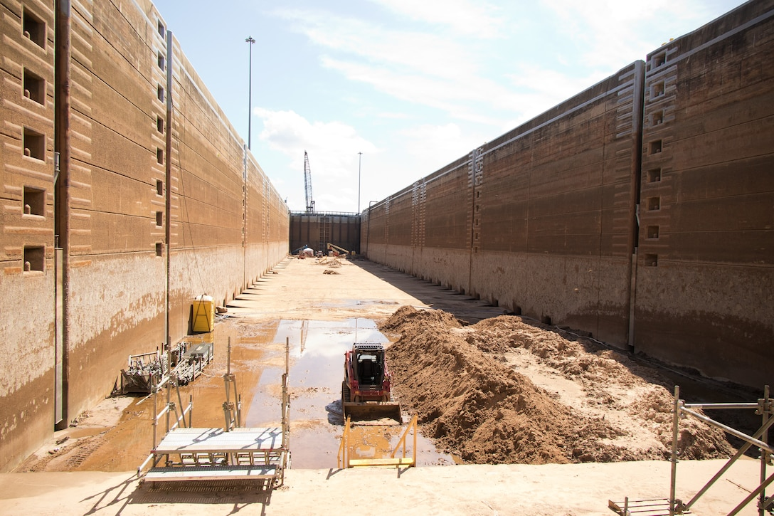 Equipment lines the chamber floor of the John H. Overton Lock and Dam during a complete dewatering of the structure, located on the Red River near Alexandria, Louisiana, by the U.S. Army Corps of Engineers Vicksburg District, Sept. 26.