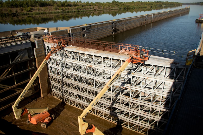 Personnel from the U.S. Army Corps of Engineers Vicksburg District inspect and perform maintenance during a complete dewatering of the John H. Overton Lock and Dam, located on the Red River near Alexandria, Louisiana, Sept. 26.