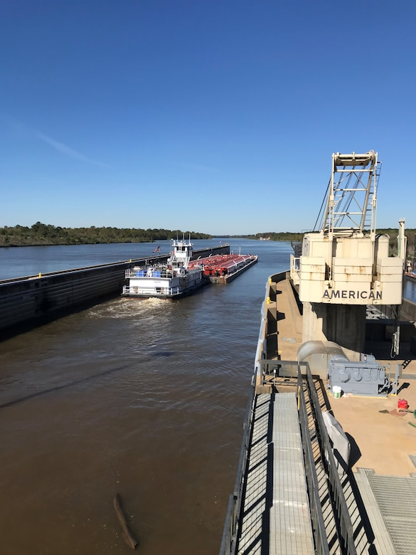 A commercial vessel transits through the John H. Overton Lock and Dam, located on the Red River near Alexandria, Louisiana, Nov. 2, following the reopening of the lock after a complete dewatering of the structure by the U.S. Army Corps of Engineers Vicksburg District.