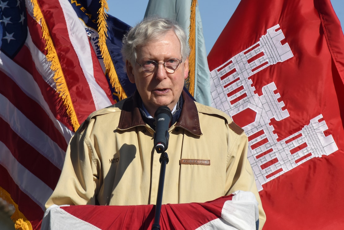 Senate Majority Leader Mitch McConnell speaks during a commissioning ceremony for a bio-acoustic fish fence Nov. 8, 2019 below Barkley Lock in Grand Rivers, Ky. The BAFF sends a curtain of bubbles, sound and light from the riverbed to the water surface, which deters noise-sensitive Asian carp from entering the lock chamber. Fisheries managers on the west coast of the United States use a similar system to guide the movement of trout and salmon from water channels. This marks the first time a BAFF has been tested at a lock and dam on a large river. Construction of the BAFF began in July 2019. The project involves multiple partners, including U.S. Fish and Wildlife Service, Kentucky Department of Fish and Wildlife Resources, U.S. Army Corps of Engineers Nashville District, U.S. Geological Survey, and Tennessee Wildlife Resources Agency. Fish Guidance Systems, a United Kingdom-based company specializing in fish deflection and guidance systems, provided the BAFF technology at Barkley Lock.  (USACE photo by Lee Roberts)