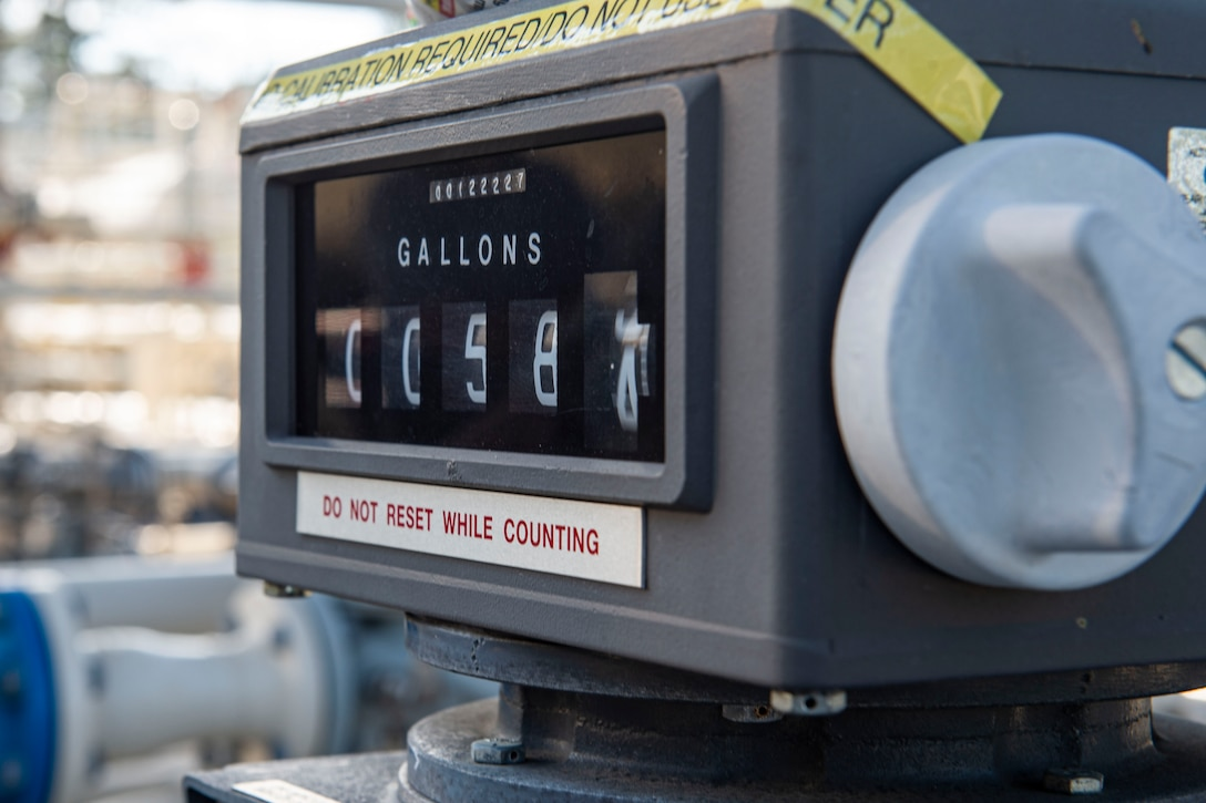 A meter reads the quantity of fuel service tanks receive Nov. 6, 2019, at Moody Air Force Base, Ga. The 23d LRS fuels facilities is responsible for maintaining facilities, product purity, storage and accountability. Fuels facilities Airmen maintain the base service station by performing routine checks on the operating valves, fuel tanks and service station parts. (U.S. Air Force photo by Airman Azaria E. Foster)