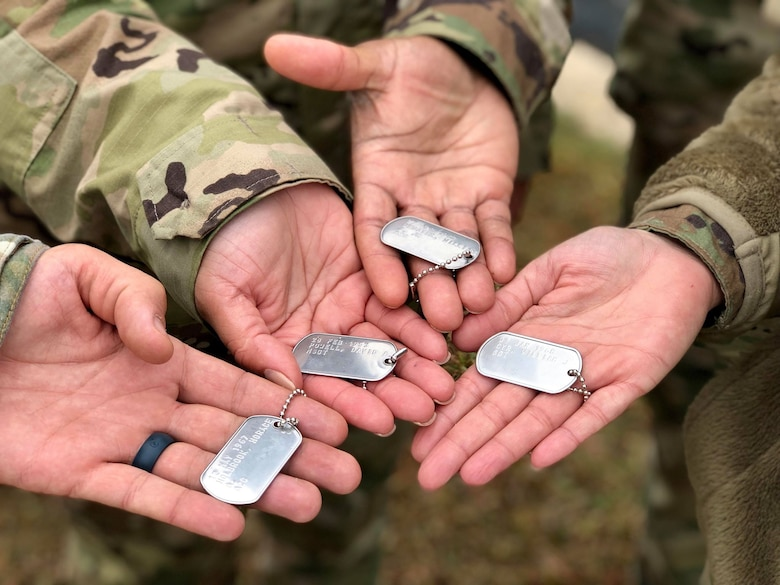 Dog tags, carried by Defender Airmen, name all Security Forces Airmen who have died performing their duties since 1950. Over 1,100 Security Forces Airmen gathered for the 12th Annual Defender Ruck, hosted by the 343rd Training Squadron, in honor of all 186 Defender Airmen who have made the ultimate sacrifice in defense of freedom, Nov. 8, here.